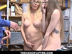 Stripling Granddaughter Shoplifter And Her Grandmother fucked By Security companion