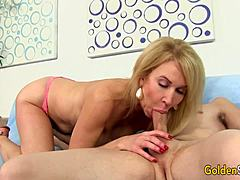 Yummy Granny Erica Lauren reveals Him What Her face hole and snatch Can Do Mom XXX