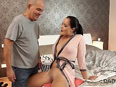 DADDY4K. Black-haired minor and adult gent delight in earthly sexual intercourse in settee Mature Porn
